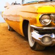 Stock Photo: Classic yellow flame painted Cadillac