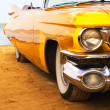 Classic yellow flame painted Cadillac — Stock Photo