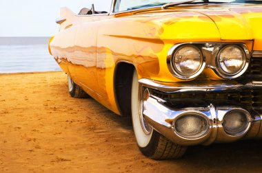 Classic yellow flame painted Cadillac