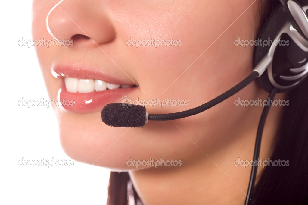 Hotline operator with headset isolated on white — Stock Photo #1670693