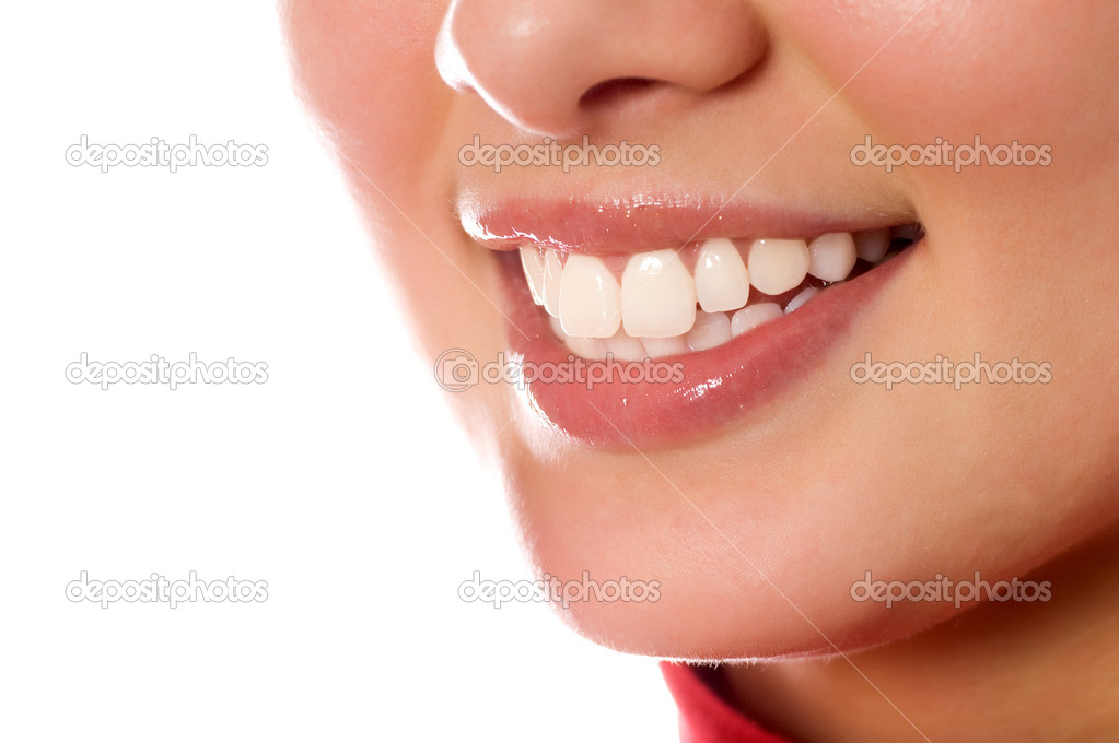 Smiling young girl mouth with great teeth (isolated on white)  Zdjcie stockowe #1670720