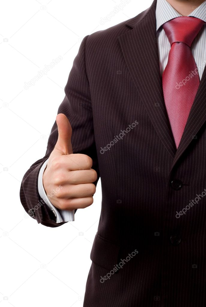 Businessman with thumbs up, everything is OK. (isolated on white) — Stock Photo #1670905