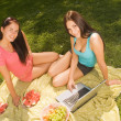 Two beautiful student girl outdoors — Stock Photo #1692958