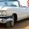 Постер, плакат: Classic white Cadillac at the beach