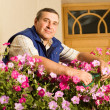 Man florist working in the garden — Stock Photo