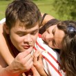 Happy couple playing in the park — Stock Photo #1694775