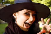 Screaming witch in hat — Stock Photo