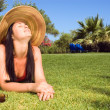 Beautiful woman enjoying the sun — Stok fotoğraf