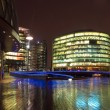 Business center at night, London - Stock Photo