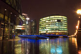 Business center at night, London — Stock Photo