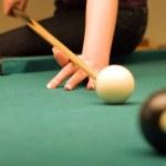 Billiard game (hand in focus) — Stock Photo