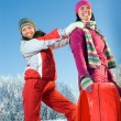 Stock Photo: Beautiful girls with sledges