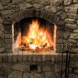 The fireplace - 图库照片