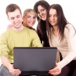 Group of students with laptop on white — Stock Photo
