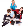 Students with the laptops and web — Stock Photo #1711330