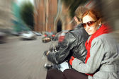 Couple on the motorcycle — Stock Photo