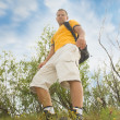 Young man hiker on the hill — Stock Photo #1725238