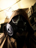 Soldier in the underground bomb shelter — Stock Photo