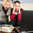 Two girls with laptop in the office - Stock Photo