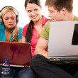Group of students doing home work - Stock Photo