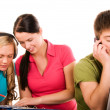 Stock Photo: Group of students doing home work