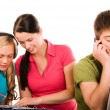 Foto de Stock  : Group of students doing home work