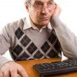 Stock Photo: Senior man with computer