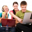 Stockfoto: Group of students doing home work