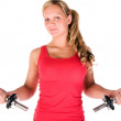 Young beautiful woman in the gym — Stock Photo