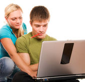 Students having fun, doing home work — Stock Photo