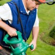 Man with leaf blower - Stockfoto