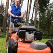 Stock fotografie: Senior man mowing the lawn.