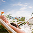 Young woman in hammock — Foto Stock