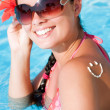 A smile made with suncream — Stock Photo