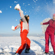 Two girls playing with snow — Stock Photo