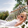 Young woman in hammock — Stock Photo #1989305