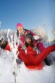 Two young beautiful girls with sledges — Stock Photo
