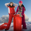Two young beautiful girls with sledges — Стоковое фото
