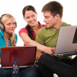 Group of students doing home work - Stockfoto