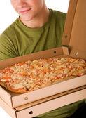 Entregador de pizza — Fotografia Stock