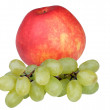 Red apple with grapes — Stock Photo