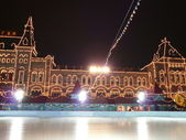 Skating-rink on red square at night — Stock Photo