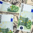 Dollar and euro banknote — Stock Photo