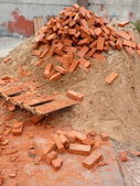 Heap of red brick — Stock Photo