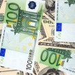 Stock Photo: Dollar and euro banknote