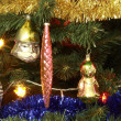 Toys on green christmas fir — ストック写真