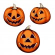 Set of three halloween pumpkin — Imagen vectorial