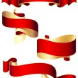 Set of four red ribbons — Stock Vector