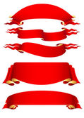 Set of 5 red banners — Stock Vector