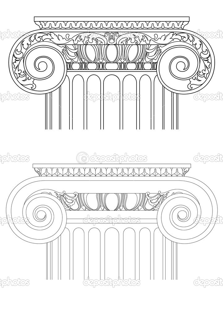 Architecture detail , vector classic column — Stockvectorbeeld #2634131